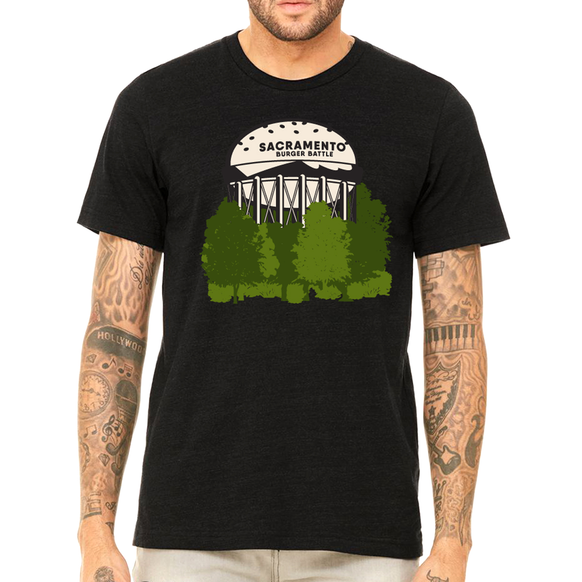 sacramento burger battle water tower t-shirt design printed on a black t-shirt